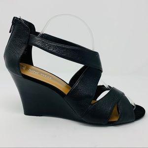 Nine West Cross Strap Black Wedge Sandal, Size 10